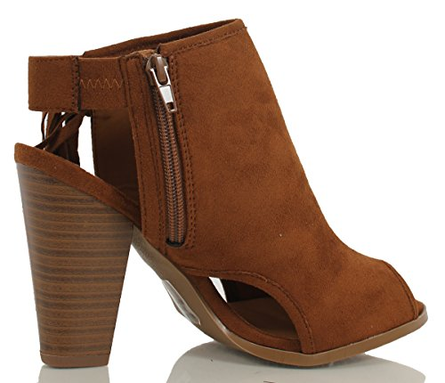 Delicious Womens Polite Peep Toe Faux Suede Fringe Tassel Stacked Heels Ankle Boot Ankle Bootie