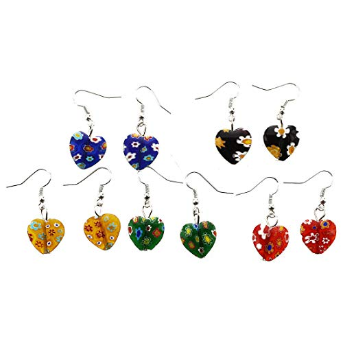T8 5 Pairs of Earrings Murano millefiori Pendants Heart 16mm K