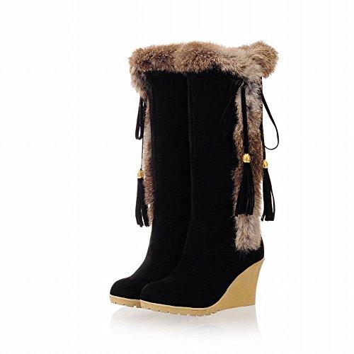Winter Boots Women's Shoes Fashion Bowknots Heel Wedge Use Carol Black Tassels Warm Snow xwHPqxC