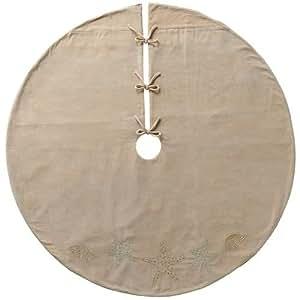 COASTAL 48-in. ~ Starfish & Shells Tree Skirt ~ Embroidreed & Beaded