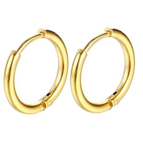 (Men Women Girls Hoop Earrings Classic Titanium Stainless Steel Charms Huggie Huggy 0.63