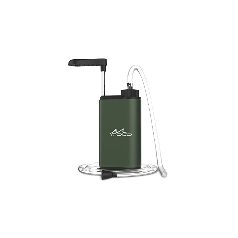 MoKo Portable Water Filter, Emergency Personal Camping Water Purifier, with Internal Carbon and Ultra Filter Assembly, 0.01 Micron Absolute Hollow Fiber Membrane, BPA Free, Matte Finish Army GREEN