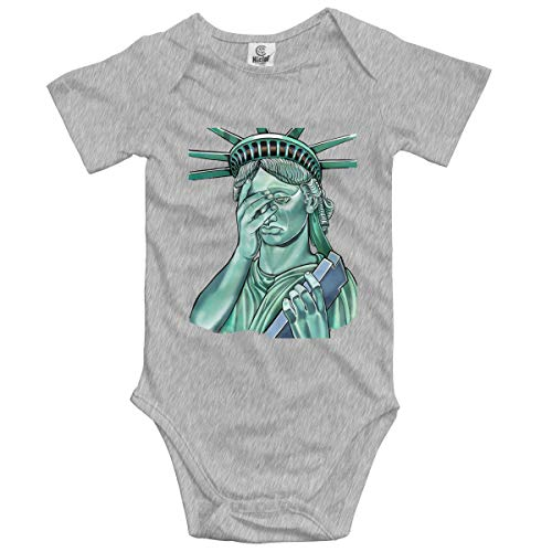 Baby Climbing Clothes Set Statue of Liberty Bodysuits Romper Short Sleeved Light Onesies Gray]()