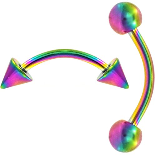 Combo Pack (Balls and Spikes) Rainbow Titanium IP Steel Curved Barbell Eyebrow Rings (14G 3/8