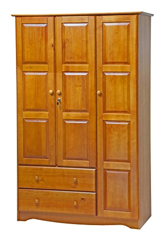 100% Solid Wood Grand Wardrobe/Armoire/Closet by Palace Imports, Honey Pine Color, 46''W x 72''H x 21''D. 5 Small Shelves, 1 Clothing Rod, 2 Drawers, 1 Lock Included. Additional Full Shelves Sold Separately. Requires Assembly. by Chandra