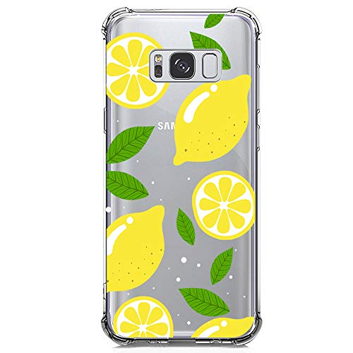 Galaxy S8 Plus Case Clear with Lemon Design Shockproof Protective Case for Samsung Galaxy S8 Plus 6.2 Inch Cute Summer Fruit Yellow Pattern Flexible Slim Rubber Floral Cell Phone Cover for Girls Women