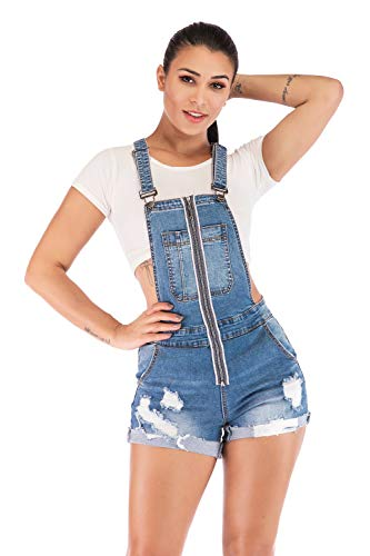 POPTIME Womens Wash Jumper Denim Overall Shorts (XX-Large, Blue3)