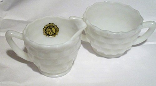 - Early American Style White Milk Glass Cubist Sugar and Creamer