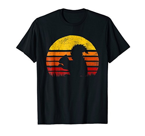 Retro Squirrel Silhuette Sunset Shirt Vintage Safari -