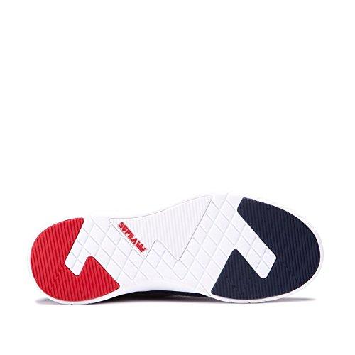 Supra Scissor Round Toe Leder Skateschuh Navy / Rot - Weiß
