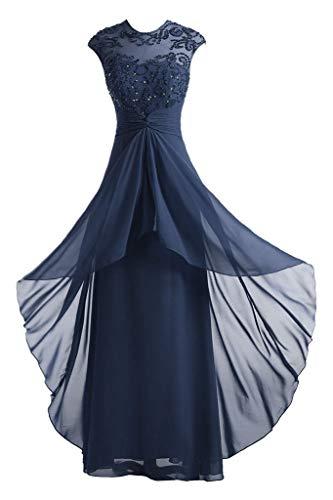 DINGZAN Jewel Neck Beaded Chiffon Wedding Reception Party Dresses Long 16W - Neck Beaded Jewel
