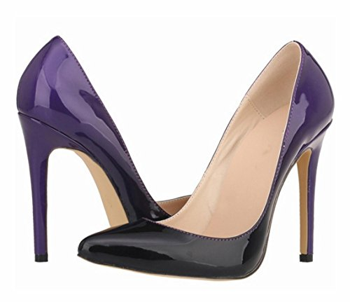 Gradient Heels 42 Pointed ZCH Leather Pumps Women's Patent Stiletto Color 41 size Party High large IAwHqUvZwx