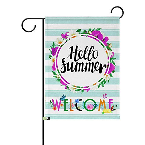 Pazacon Welecome Summer Garden Flag,Outside House Flower Vertical Double Sided Decorative Banner Flags for The Holiday,12.5 X 18 Inch