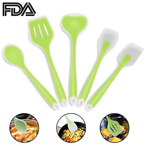 5 Piece Silicone Kitchen Utensil Set, Sunvook Non-Stick & Heat Resistant Cooking Utensil Kitchen Tools-Green