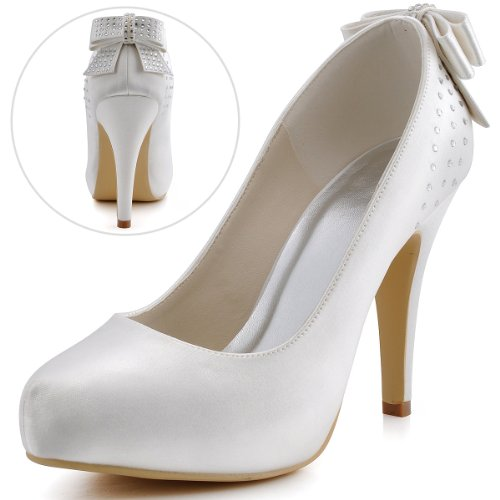 Heels Satin ElegantPark Ivory Court Rhinestones High Women Platform EP11034 Bow Closed Shoes toe Wedding Knot IP Party xYw0fqrY