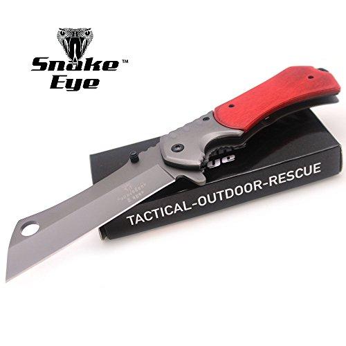 Snake Eye Tactical Heavy Duty Assisted Open Razor Style Folding Pocket Knife Camping Hunting Fishing (Wood)