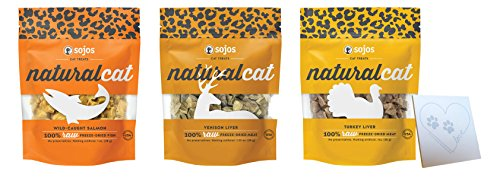 SOJOS Natural Cat 100% Real Meat - 3 Delicious Flavors: Wild-Caught Salmon, Venison Liver and Turkey Liver (1oz Each, 3 bags -