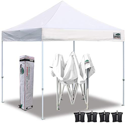 Eurmax 10'x10' Ez Pop Up Canopy Tent Commercial Instant Shelter with Heavy Duty Roller Bag