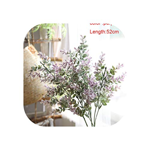 Silk Leaf Eucalyptus Artificial Green Leaves for Wedding Decoration DIY Wreath Gift Scrapbooking Craft Apple Plants Fake Flower,52cm Purple