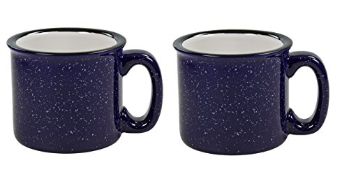 (Santa Fe Campfire Coffee & Tea Mug Perfect For Camping or Home , Cobalt Blue 15 oz (Pack of 2))
