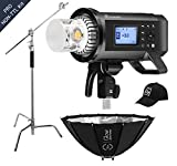 Flashpoint XPLOR 600PRO R2 HSS Battery-Powered Monolight Kit with Glow ParaPop and C-Stand.