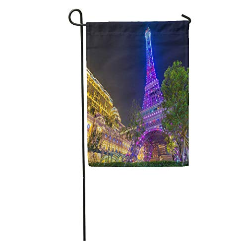 Semtomn Garden Flag Macau China May Perspective View of Pink Eiffel Tower The Home Yard House Decor Barnner Outdoor Stand 12x18 Inches Flag