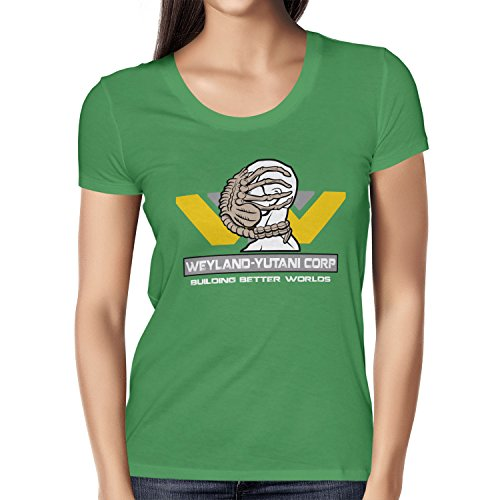 TEXLAB Weyland Yutani Facehugger Damen TShirt, Größe L, grün grün Größe L