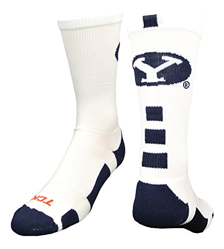 BYU Baseline Crew Socks (White/Navy, Medium)