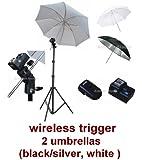 Photo Studio Portable Hot Shoe Flash Umbrella Stand Kit with Wireless Remote Trigger for Canon, Nikon, Panasonic, Leica, Pentac, Olympus DSLR camera