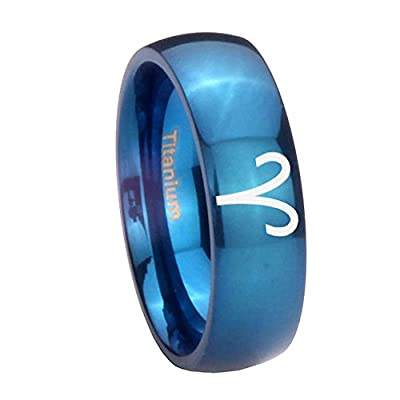 Blue IP Titanium Aries Zodiac Dome Engraved Ring ( 6MM, 8MM ) Size 4 to 13 save more