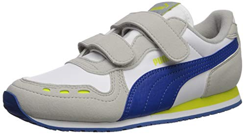 PUMA Unisex Cabana Racer Velcro Sneaker, White-Galaxy Blue-Gray Violet-Nrgy Yellow, 10.5 M US Little - Violet Yellow Blue