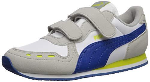 PUMA Unisex Cabana Racer Velcro Sneaker, White-Galaxy Blue-Gray Violet-Nrgy Yellow, 2 M US Little Kid