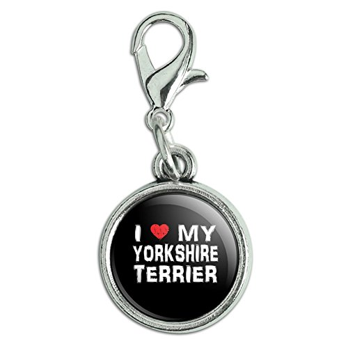 Antiqued Bracelet Pendant Zipper Pull Charm with Lobster Clasp I Love My Dog S-Y - Yorkshire Terrier -