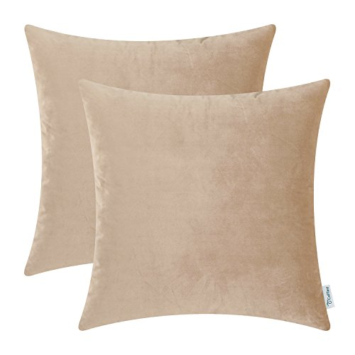 Pillow Deer Toss - CaliTime Pack of 2 Cozy Throw Pillow Covers Cases for Couch Sofa Bed Solid Ultra Soft Gorgeous Velvety Faux Cashmere 20 X 20 Inches Tan Taupe