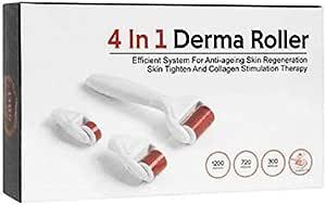 جهاز تجديد البشرة ديرما رولر 4 في 1 بإبر مايكرو تيتانيوم 0.5 ملم و1.0 ملم و1.5 ملم مع حافظة للسفر