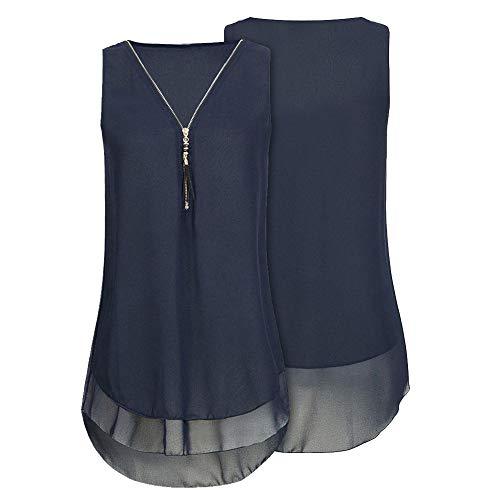 NREALY Womens Loose Chiffon Sleeveless Tank Top V-Neck Zipper Hem Scoop T Shirts Tops(Large, L_Dark Blue]()