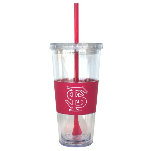 NCAA Florida State Seminoles Pink Tumbler with Straw, 22-Ounce by Boelter Brands
