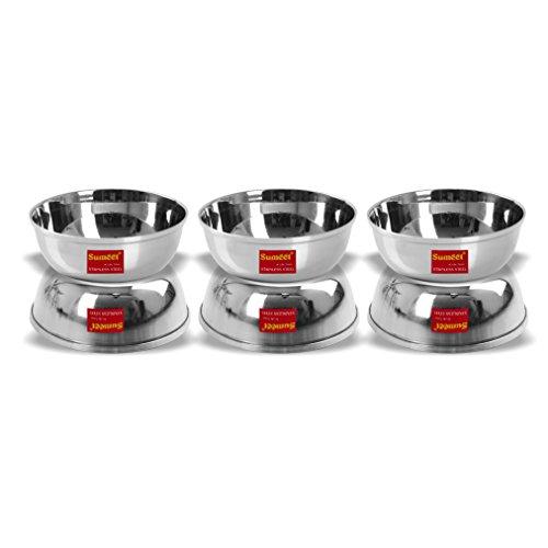 Sumeet Stainless Steel Heavy Gauge Bowl/Wati Set with Mirror Finish 12cm Dia (350 Ml) – Set of 6pc Price & Reviews