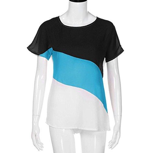Bloc Tops Soie Cou Wolfleague de O Couleur XL Bleu ~ Shirts S T Casual en Shirts de Chic Manche Mousseline Courte Chemisier Tunique Femmes wYqTP7xY