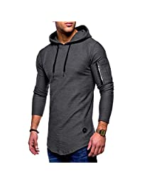 Karl Aiken Men's Solid Color Round Neck Hooded Long Sleeve T-Shirt