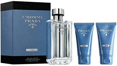 Prada L'Homme L'eau Men 3 Pieces Travel Set (3.4 Eau De Toilette Spray /2.5 Facial Cleanser/2.5 Shower Cream)