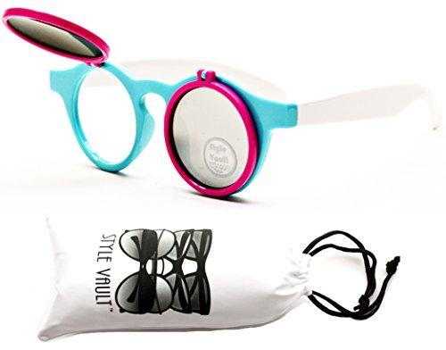 KD3025-VP Style Vault Kids (2-10 yrs) Flip Up Round Steampunk Django Sunglasses (T1417H White/Sky Blue/Hot - Flip Shade Sunglasses