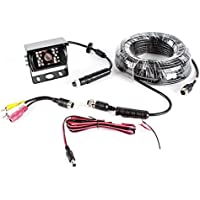 Rostra 250-8150-20M Universal Mount Black CCD Backup Camera with Infared LEDs, Microphone, and 66 Harness