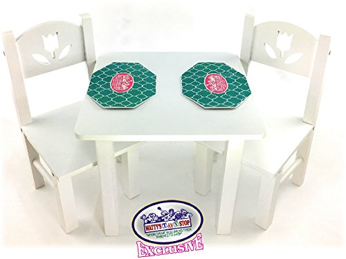 Matty's Toy Stop 18 Inch Doll Furniture White Wooden Table and Chairs Set with Placemats (Floral Design) - Fits American Girl Dolls ()
