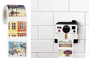 Polaroll Polaroid Camera Shaped Toilet Paper Roll Holder With Color Refill