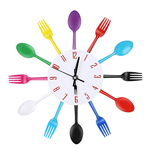 Yesurprise Kitchen Utensil Wall Clock Cutlery Spoon Fork Home Decor Metal (Colorful) ()