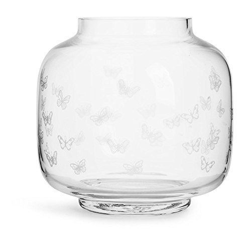 Sagaform Mouth Blown Trophy Round Shape Glass Vase with White Butterflies, Clear