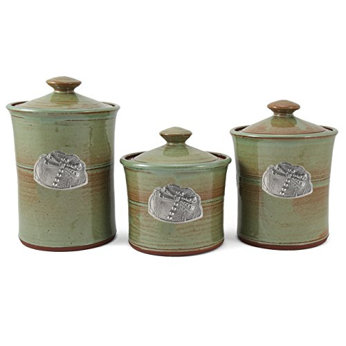 Oregon Stoneware Studio Dragonfly 3-piece Canister Set, (Pottery Canister Set)