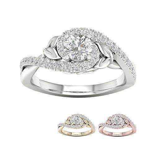 Tdw Diamond Promise Ring - IGI Certfied 14k Rose Gold 3/8Ct TDW Diamond Promise Ring (I-J,I2)
