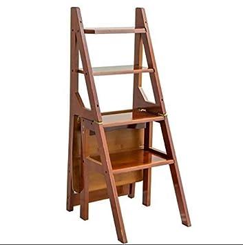 XH shop Escalera plegable Escalera de madera maciza Silla de ...